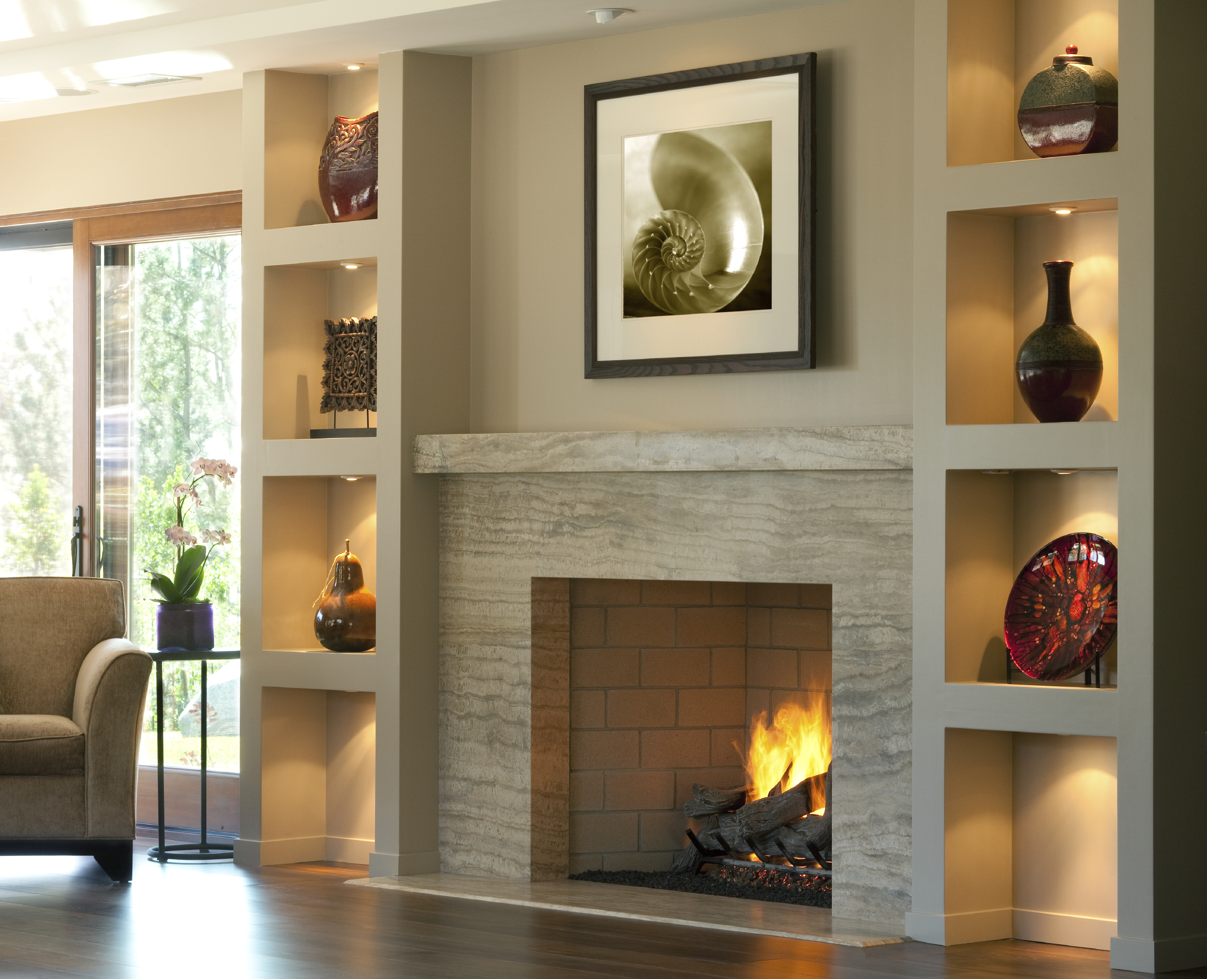 Fireplace with display shelves living loving fairfield.